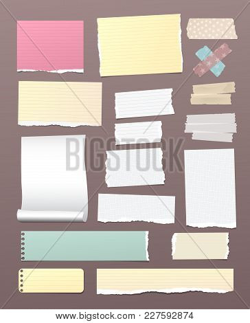 White And Colorful Torn, Lined, And Squared Note, Notebook Paper With Adhesive, Sticky Tape On Brown