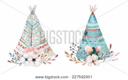 Hand Drawn Watercolor Tribal Teepee, Isolated White Campsite Tent. Boho America Traditional Native O
