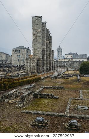 Ruins Of Old Roman Theatre Built In The Late Reign Of Augustus In Aosta, Italy, Some Decades After T