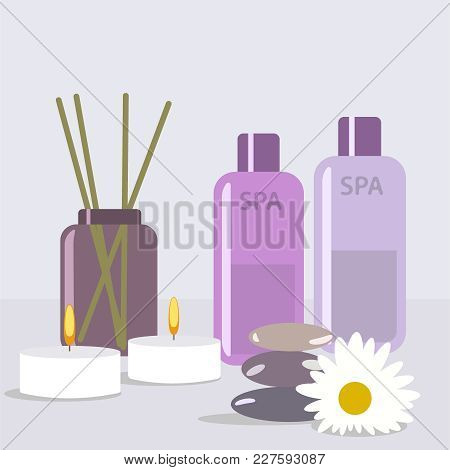 Aroma Therapy Set. A Collection Of Home Fragrances Aroma Candle, Sticks And Oil Flat Editable Vector