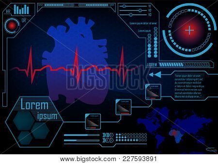 Hud Gui Radar Monitor Screen. Futuristic Game Technology Outer Space Background. User Interface Worl