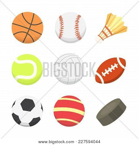 Vector Cartoon Colorful Ball Set. Sport Balls Icons Isolated.
