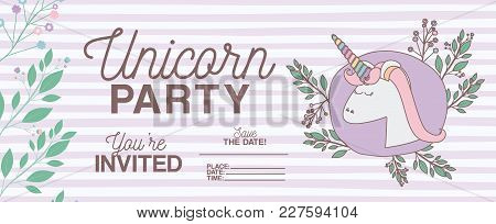 Unicorn Party Invitation Card With Floral Decoration Vector Illustration Design