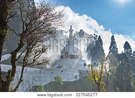 Japanese Shanti-stupa, Aka Peace Pagoda, On The Top Of Mountain In The Darjeeling, In A Haze Of The