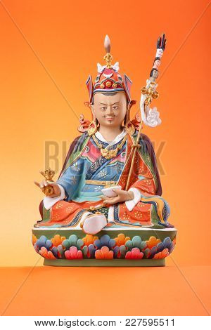 The Clay Figurine Of Sitting Padmasambhava - Guru Rinpoche, Make In A Traditional Tibetan Manner, c