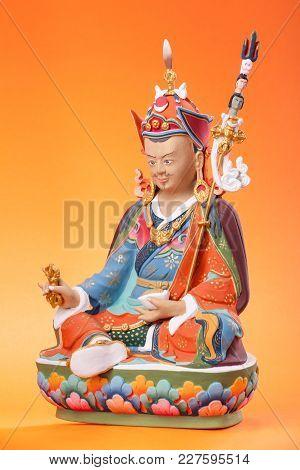 Figurine Of Padmasambhava  - Guru Rinpoche, In The Sitting Pose, Make In A Traditional Tibetan Manne