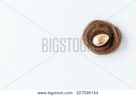 Close-up View Of Shiny Golden Easter Egg In Nest Isolated On White