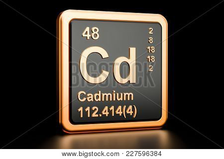 Cadmium Cd Chemical Element. 3d Rendering Isolated On Black Background