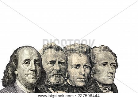 The Presidents On Dollar Of Us American Isolated On White Background. This Has Clipping Path.