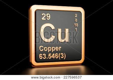 Copper Cu, Chemical Element. 3d Rendering Isolated On Black Background