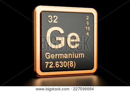 Germanium Ge, Chemical Element. 3d Rendering Isolated On Black Background