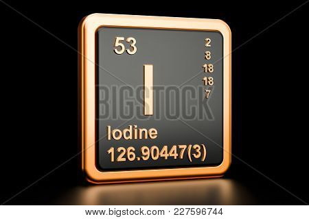 Iodine I Stibium, Chemical Element. 3d Rendering Isolated On Black Background