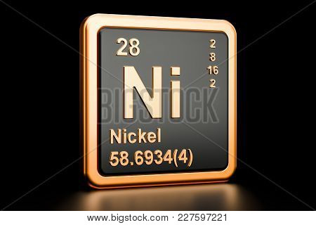 Nickel Ni, Chemical Element. 3d Rendering Isolated On Black Background