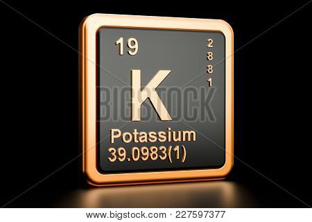 Potassium, K Chemical Element. 3d Rendering Isolated On Black Background