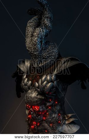 Knight, silver skull with red leds lights in eye sockets, handmade design cosplay or fantasy style