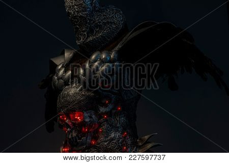 Evil, silver skull with red leds lights in eye sockets, handmade design cosplay or fantasy style