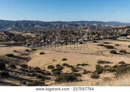 Morning view of suburban fields and housing tracts in Simi Valley near Los Angeles in Ventura County California.