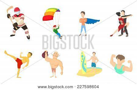 Sportsmen Icon Set. Cartoon Set Of Sportsmen Vector Icons For Web Design Isolated On White Backgroun