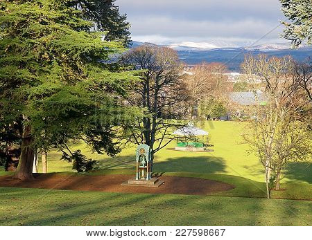Landscape From The Forfar Park. Forfar, Scotland - January 31, 2018 Sunny Landscape With A City Park