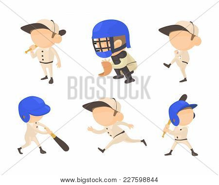 Baseball Player Icon Set. Cartoon Set Of Baseball Player Vector Icons For Web Design Isolated On Whi