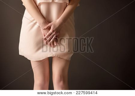 Cropped View Of Elegant Tender Girl In Pink Chiffon Dress, Isolated On Pink