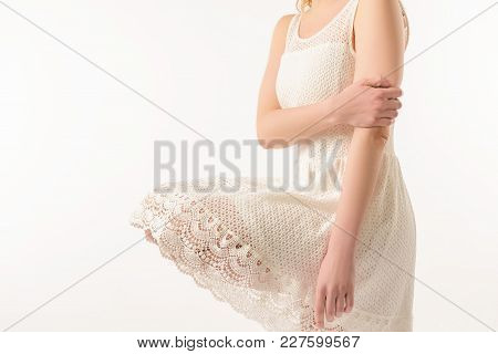 Cropped View Of Elegant Girl In White Lace Dress, Isolated On White