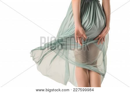 Rear View Of Girl In Transparent Blue Dress, Isolated On White