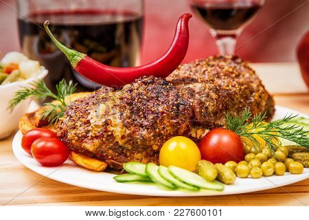 Appetizing Baked Fillet Of Pork With Spices And Vegetables