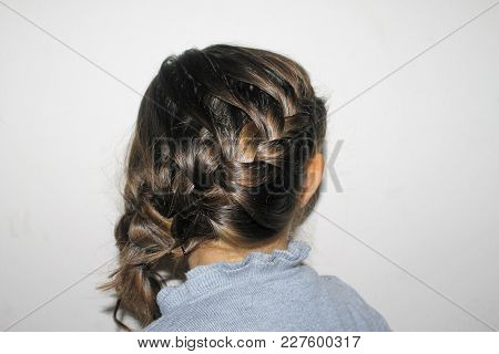 Portrait of hairstyle with braid of young girl