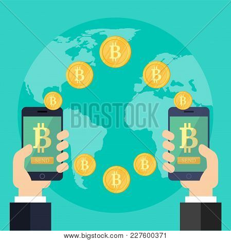 Raising Bitcoin Courses On A Blue Background. Two Hands With Phones And With Golden Coins. Money Sav