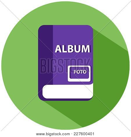 A Realistic Album For Photos. A Purple Book In A Green Circle, Isolated On A White Background. Vecto