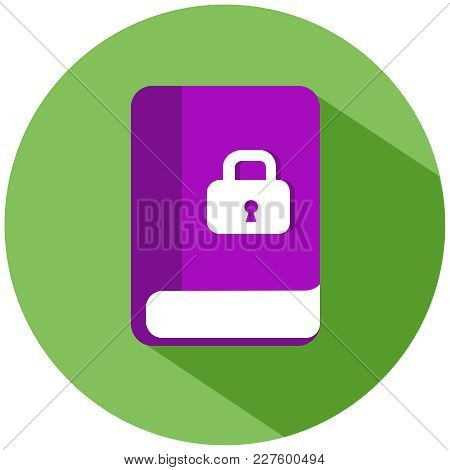 Realistic Book With A White Lock In A Green Circle. A Pink Book, Isolated On A White Background. Vec