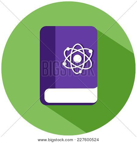 Realistic Book With Chemical Atoms Icon. A Purple Book In A Green Circle, Isolated On A White Backgr