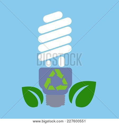 Ecological Light Bulb With Leaves On A Blue Background. The Concept Of Ecology, To Save The Planet.
