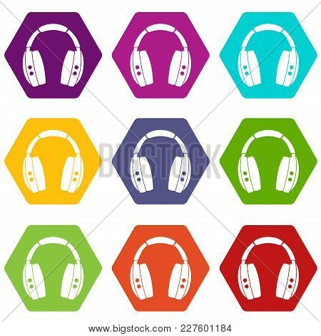Headphones Icon Set Many Color Hexahedron Isolated On White Vector Illustration
