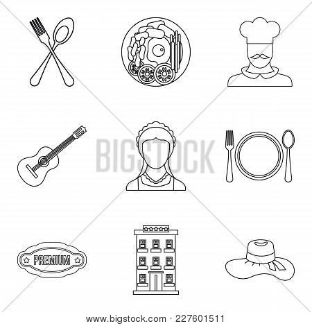 Small Restaurant Icons Set. Outline Set Of 9 Small Restaurant Vector Icons For Web Isolated On White