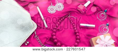 Banner Set Of Women's Accessories And Cosmetics On A Pink Background.