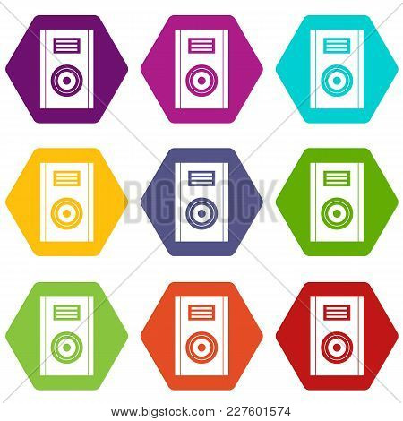Music Speaker Icon Set Many Color Hexahedron Isolated On White Vector Illustration