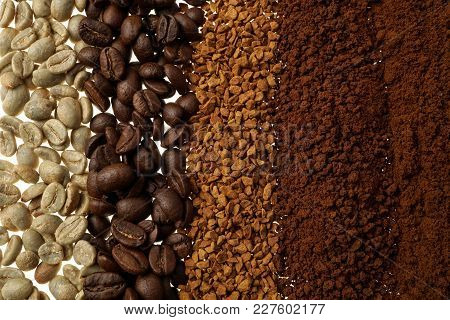 Close Up Of Five Different Coffee Types - Coffee Background
