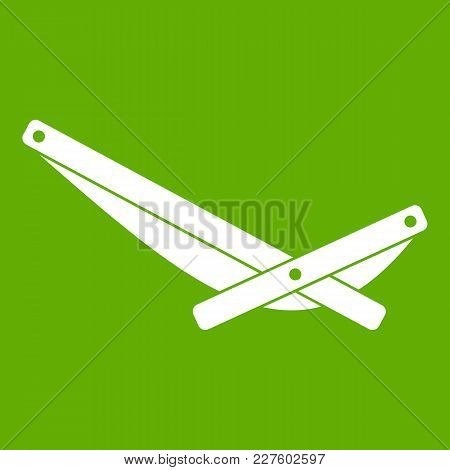 Recliner Icon White Isolated On Green Background. Vector Illustration