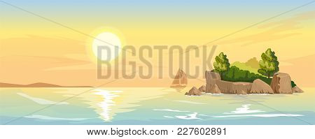Seascape With Rocky Island Overgrown With Forests. Sunset