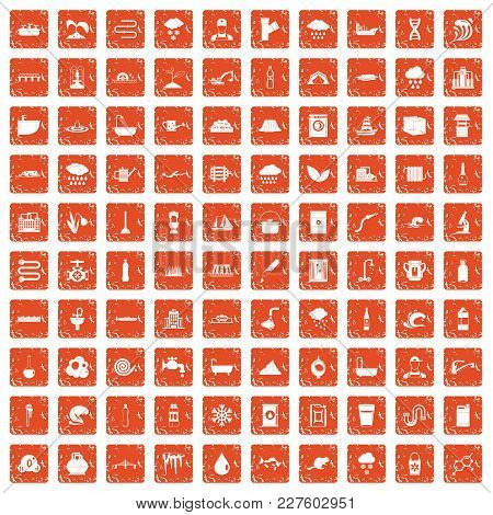100 Water Supply Icons Set In Grunge Style Orange Color Isolated On White Background Vector Illustra