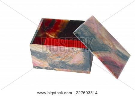 Small Simple Stone Box Of Polished Rhodonite With An Open Lid Isolated