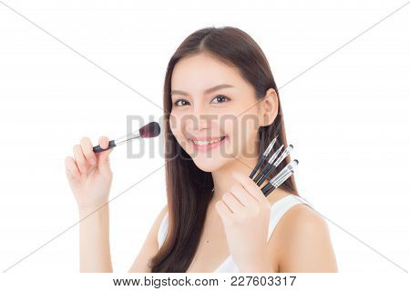 Beauty Asian Woman Applying Make Up With Brush Of Cheek Isolated On White Background, Beautiful Of G