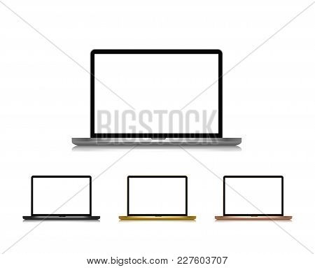 Collection Isolated Laptops With Colorful Covering Vector Illustration. Opened Personal Computer Tem