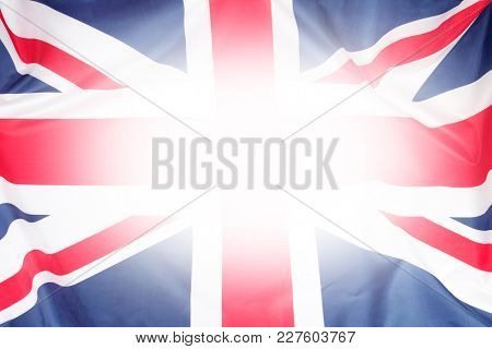 Closeup of Union Jack flag. Bright central area