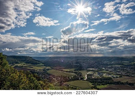 The City Jena In Thuringia With Sunshine And Clouds