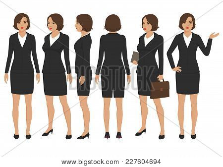 Vector Illustration Of  Secretary Woman Cartoon Character, Front, Back And Side View Of Businesswoma
