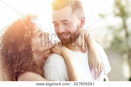 Close-up portrait of a newlywed couple