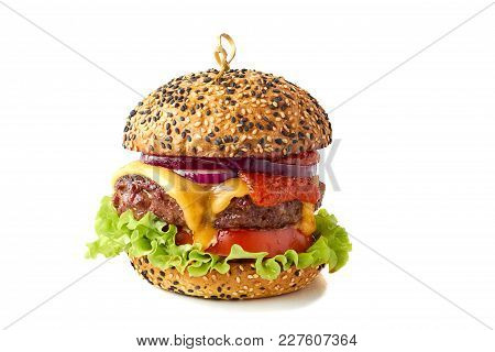 Tasty Classic Cheeseburger Isolated On White Background
